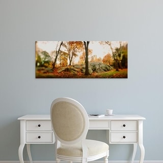 Easy Art Prints Panoramic Image 'Trees in a park, Central Park, Manhattan, New York City, New York State' Canvas Art