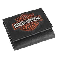 "Harley-Davidson Men's Embroidered Bar & Shield Tri-Fold Wallet, XML4363-ORGBLK - 4"" x 3.5"""