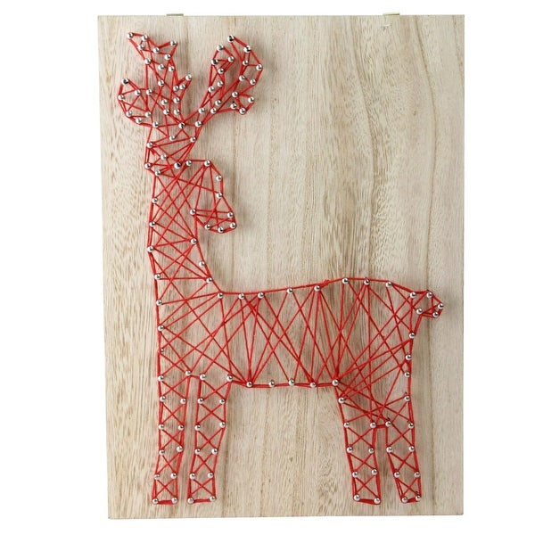 "11"" ""Crazy String"" Natural Finished Wood and Ruby Red String Reindeer Wall Decoration"