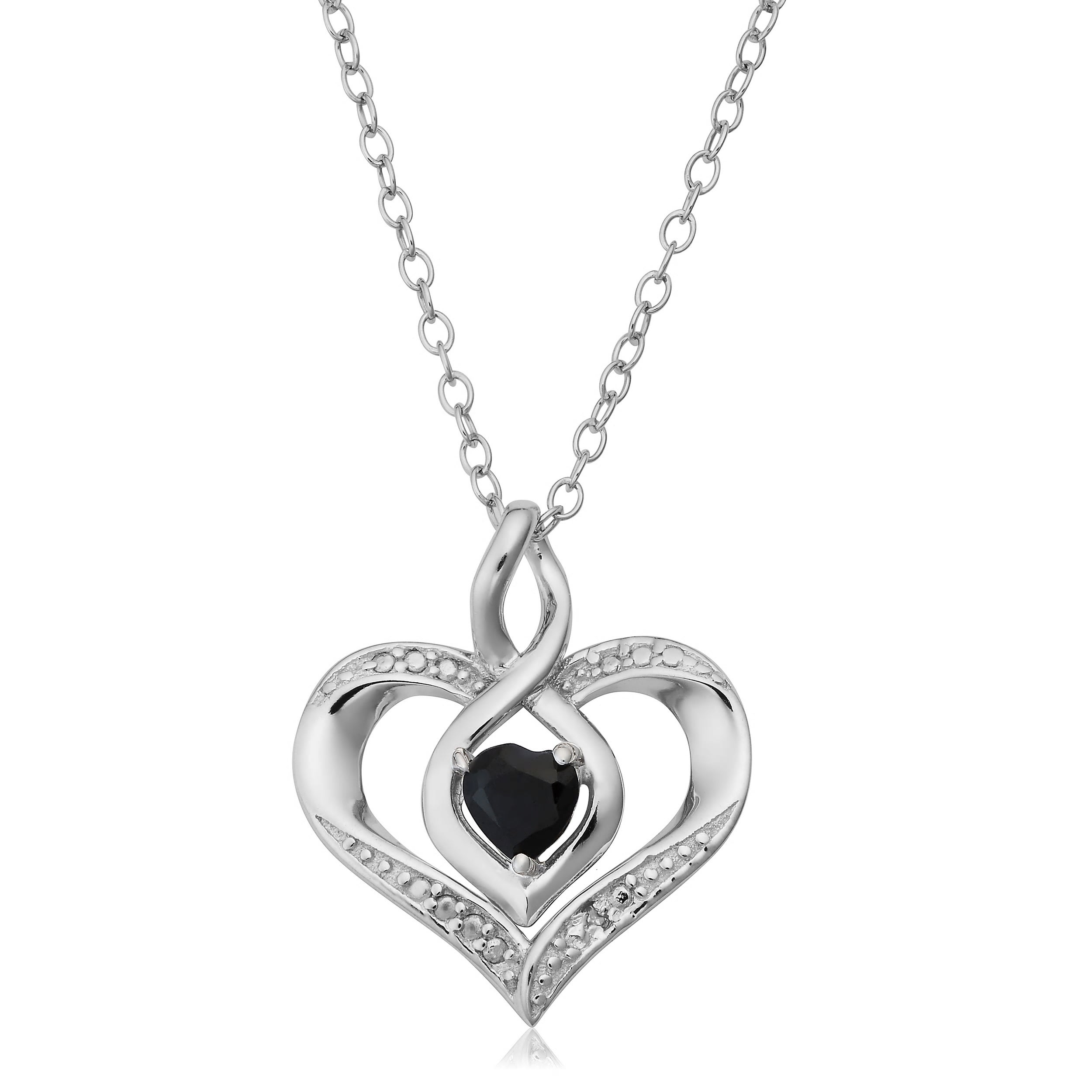 White Ice Sterling Silver Heart Shaped with Flower Center Diamond Necklace 18
