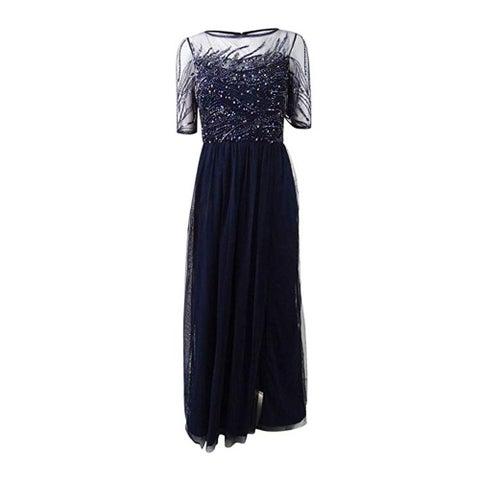 Adrianna Papell 3/4 Sleeve Beaded Bodice with Mesh Long Skirt, Midnight,18