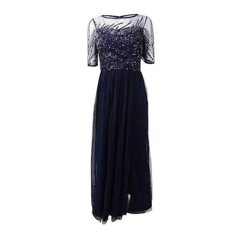 3cf714a30 Adrianna Papell 3/4 Sleeve Beaded Bodice with Mesh Long Skirt, Midnight,18