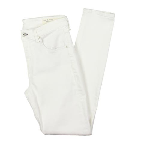 Rag & Bone Womens Cate Skinny Jeans Stretch Full Length - White