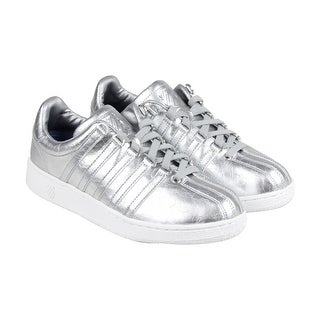 K-Swiss Classic VN Aged Foil Mens Silver Leather Lace Up Sneakers Shoes