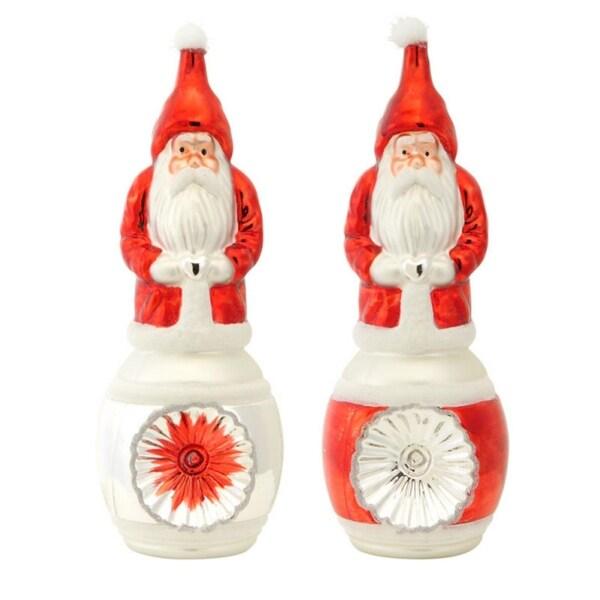 """Santa (2 Asst) 10.5""""H Glass - RED"""