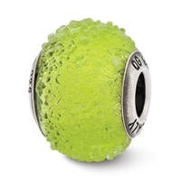 Italian Sterling Silver Reflections Light Green Textured Glass Bead (4mm Diameter Hole)