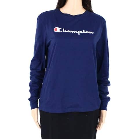 Champion Womens Top Navy Blue Size Medium M Knit Crewneck Chest Logo