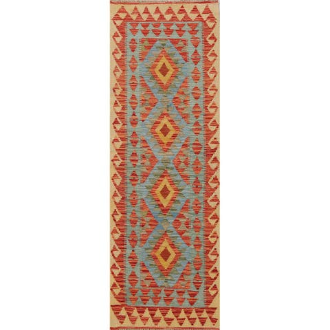 "Geometric South-western Kilim Oriental Runner Rug Wool Hand-woven - 2'3"" x 6'5"""