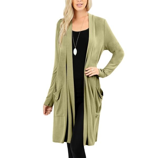 NE PEOPLE Womens Basic Long Sleeve Open Front Slouchy Pockets Cardigan
