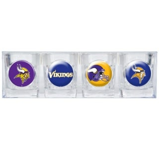 Great American Products Minnesota Vikings Shot Glass Set 4pc Collectors Shot Glass Set
