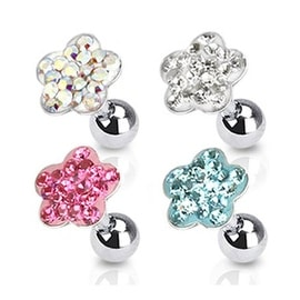 """Surgical Steel Tragus/Cartilage Barbell with Paved Flower Top - 16GA 1/4"""" Long (Sold Ind.)"""