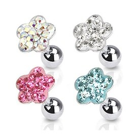 """Surgical Steel Tragus/Cartilage Barbell with Paved Flower Top - 16GA 1/4"""" Long (Sold Ind.) (4 options available)"""