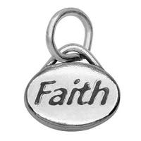 Lead-Free Pewter Message Charm, 'Faith' 11x8mm, 1 Piece, Antiqued Silver