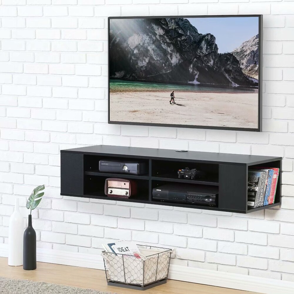 FITUEYES Floating TV Stand Wall Mount Media Shelf Entertainment Center - 47 inches in width (47 inches in width - Black) -  FUTIEYES