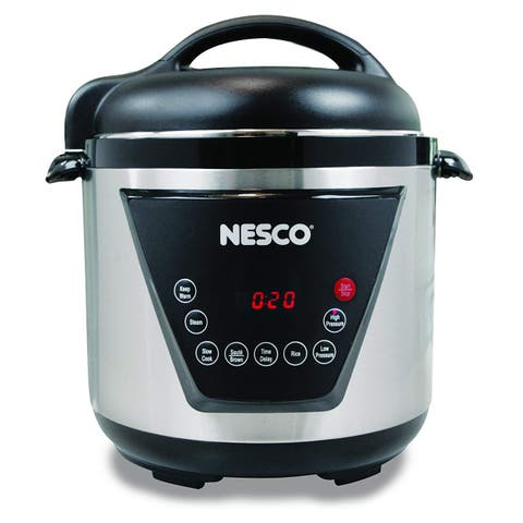 Nesco American Harvest PC6-13 Pressure Cooker, 6 quart, Silver & Black