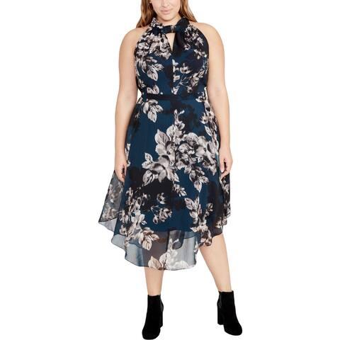 Rachel Rachel Roy Womens Plus Party Dress Flora Print Day To Night