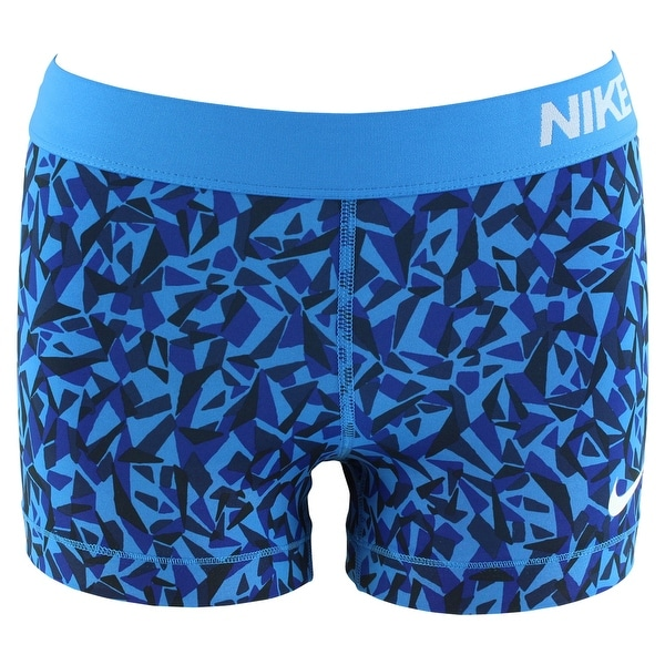 9b1b5120a Shop Nike Womens Pro Cool Three Inch Printed Compression Shorts Blue -  Blue/Black - On Sale - Free Shipping On Orders Over $45 - Overstock -  22613456