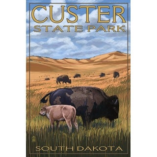Custer Park, South Dakota - Buffalo Herd and Calf - Lantern Press Artwork (Cotton/Polyester Chef's Apron)