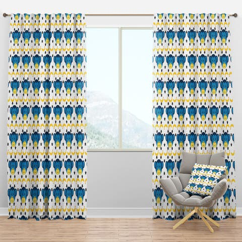 Designart 'Doodle Monkey Pattern' Tropical Blackout Curtain Panel