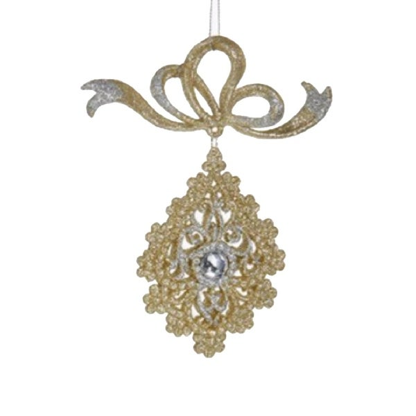 """6"""" Gold and Silver Glittered Scalloped Teardrop with Gem Dangling Christmas Ornament"""