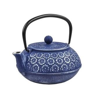 Spigo Kyoto Cast Iron Enamel Infuser Teapot, Blue, 33 Ounces