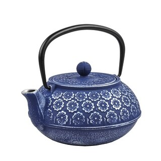 Spigo Kyoto Cast Iron Enamel Infuser Teapot, Blue, 33 Ounces