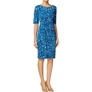 Connected Apparel Womens Petites Wear to Work Dress Bubble-Dot Printed Foldover