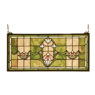 Meyda Tiffany 98463 Stained Glass Tiffany Window from the Arts & Crafts Collection