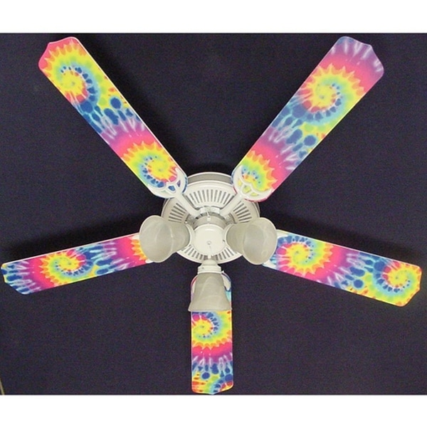 Colorful Groovy Tie Dye Print Blades 52in Ceiling Fan Light Kit - Multi