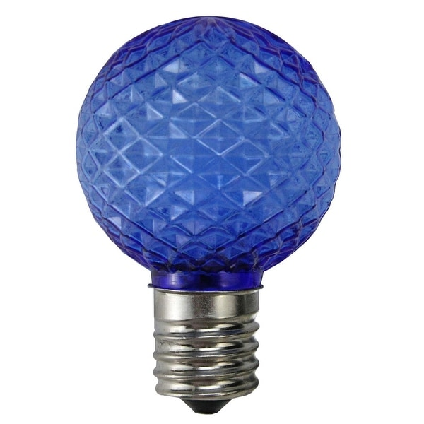 Pack of 25 LED Blue Faceted G40 Globe Christmas Replacement Light Bulbs