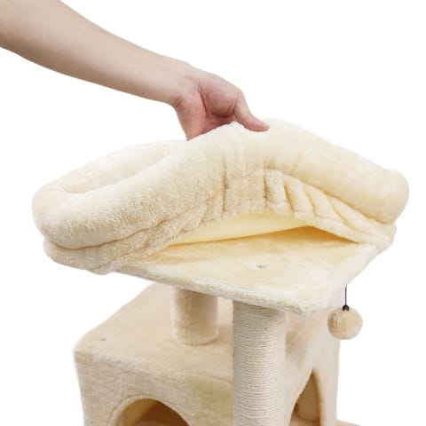 Kitten Furniture Plush Condo Playhouse with Dangling Toys Cats