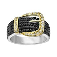 1/5 ct Diamond Buckle Ring in Sterling Silver and 14K Gold