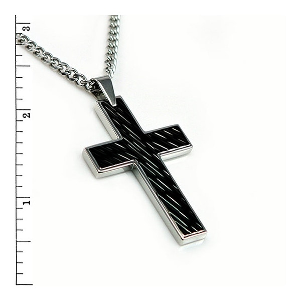 Black Stainless Steel Cross Pendant w/ Onyx Inlay - 24 inches