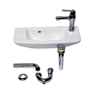 Wall Mount White Bathroom Sink Complete Faucet Set Renovator's Supply