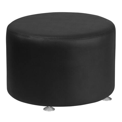 Offex Hercules Alon Series 24'' Contemporary Design Black Leather Round Ottoman