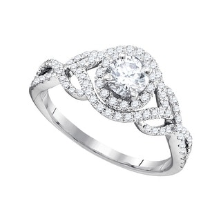 14kt White Gold Womens Round Natural Diamond Round Bridal Wedding Engagement Ring 7/8 Cttw