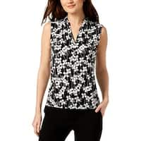 Nine West Womens Shell Floral V-Neck