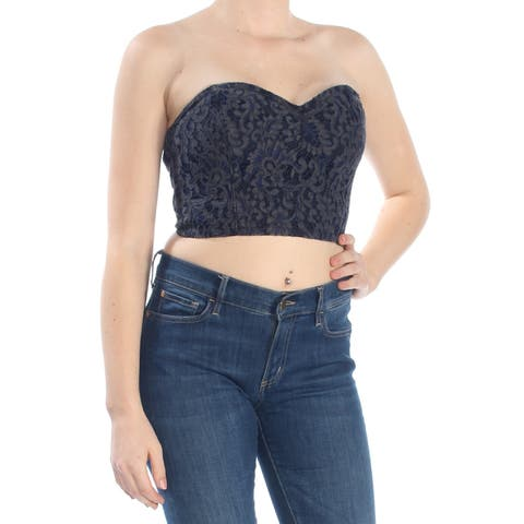 GUESS Womens Navy Crop Printed Sweetheart Neckline Tube Top Size: M