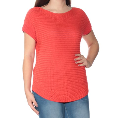 RALPH LAUREN Red Short Sleeve Boat Neck Sweater Size: S