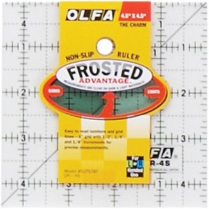 """OLFA Frosted Advantage Non-Slip Ruler """"The Charm""""-4-1/2""""X4-1/2"""""""