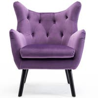 BELLEZE Wing Back Chair Mid Century Tufted Style Wood Leg Polyester, Purple