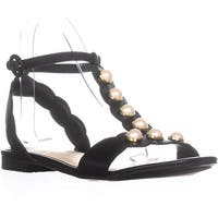 Marc Fisher Elana T-Strap Flat Sandals, Black Leather