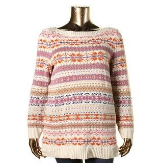 Lauren Ralph Lauren Womens Plus Knit Pattern Pullover Sweater