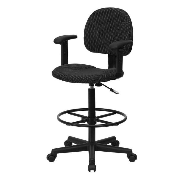 """Delacora FF-BT-659-ARMS 20"""" Wide Fabric Drafting Chair with Adjustable Arms"""