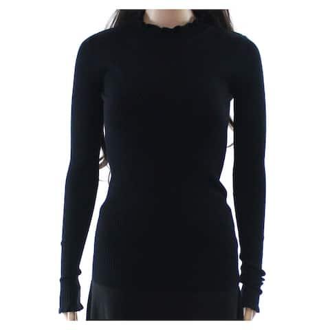 Planet Gold Womens Black Size Large L Lettuce Trim Ribbed Mock Sweater