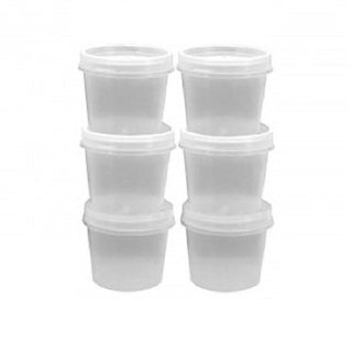 6 Piece Reusable Salad Dressing 1oz Container Set with Snap Airtight Lids - Great for Lunches On The Go