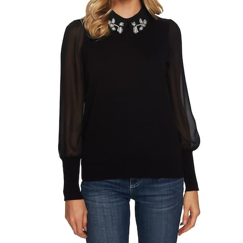 CeCe Womens Black Size XL Collared Embellished Sheer-Sleeve Sweater