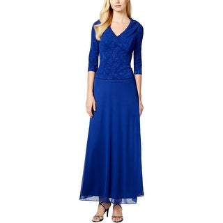 Alex Evenings Womens Petites Evening Dress Glitter 3/4 Sleeves