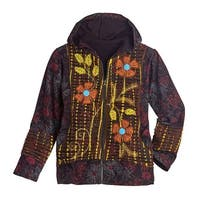 Rising International Women's Floral Embroidered Hoodie - Zip-Up Hooded Jacket