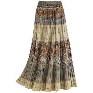 Catalog Classics Women's Sage Paisley Broomstick Skirt, Tiered Peasant Maxi